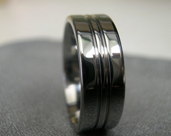 Titanium Ring, Polished Ring, Wedding Band, Cut Grooves