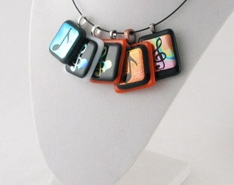 Musical Note dichroic glass pendant - Treble clef necklace - musical necklace - musical jewelry (2359-3433-3495-3593-3732)