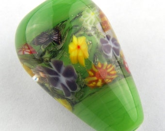 Green Garden With Butterflies and Flower Murrine Lampwork Glass Bead by Chase Designs