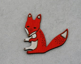 Fox Brooch, Painted Wooden Fox Badge, Wood Jewelry, Animal Brooch