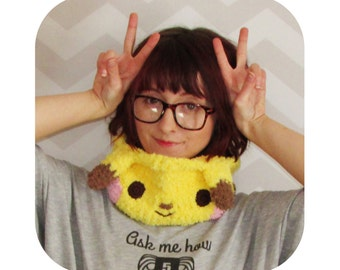 The Original kawaii pikachu cowl and headband - super fuzzy and soft - pokemon anime inspired