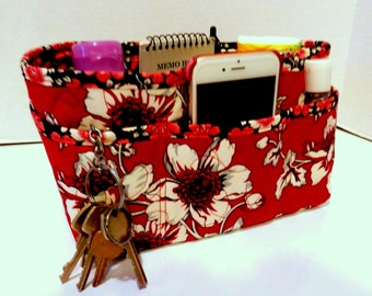 "Purse Organizer Insert/Enclosed Bottom  4"" Depth/ Deep Red, Off White, and Black Floral"