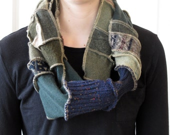Patchwork Scarf - Upcycled and Eco Friendly - Infinity Scarf