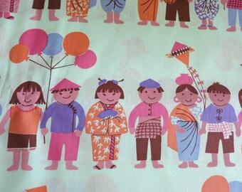 hand-printed cotton fabric -  SMALL WORLD kids  Mint - half yard