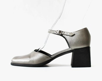 SALE - 1990's Silver Metallic Mary Janes Platforms