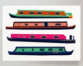 Narrow Boats print in A4