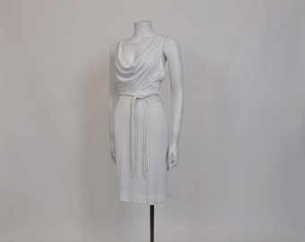 1970s dress / Disco Draped Vintage 70's White Party Dress
