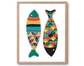 Fish Art Print - Teal N Black - Fish Art, Fish Print, Fish Illustration, Animal Print, Children's Book Art, Kids Art