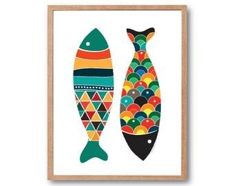 Fish Art Print, Fish Wall Art, Fish Art, Fish Print, Fish Illustration, Animal Print, Children's Book Art, Kids Art
