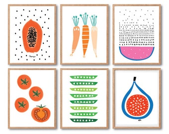 Kitchen wall decor, Fruits Art print set, Kids room decor, Baby Nursery decor, Tomato art print, Papaya, Watermelon, Fig, Carrot, Peas
