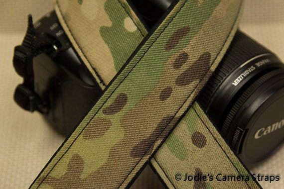 Multicam Camera Strap 2 in or 1.5 in Wide Custom Padded Multicam Military Camouflage DSLR SLR