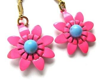 1960s FLORAL Dangling Flower Earrings in Hot Pink Clip on Earrings