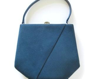 Blue suede bag | Etsy