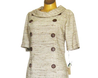 Linen Look Day Dress / NOS with TAGS / Short Sleeve Sheath Dress with Cowl Neck Button Details and Concealed Pockets / Size 13