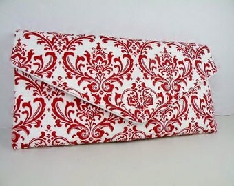 Red Damask Envelope Clutch Evening Bag Purse Weddings Bride Bridesmaid Lipstick Red and White MADISON Damask