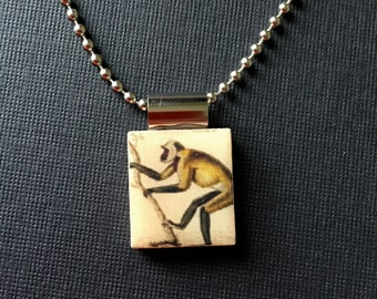 Pendant, Jewelry, Monkey, Year of the Monkey, Necklace, Scrabble Tile, Game Piece