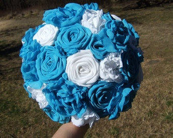 Turquoise and White Fabric Wedding Bouquet