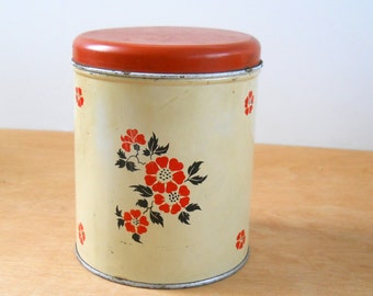 Vintage Kitchen Canister • Decoware Canister • Mid Century Metal Canister • Red and Black Poppies