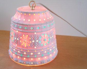 Vintage Plastic Hanging Light • Vintage White Plastic Beaded Lamp • Vintage Lawnware Patio Light