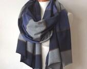 Long blanket scarf, striped cotton jersey oversized scarf, unisex winter scarf navy blue & gray striped jersey, chunky shawl, bohemian wrap