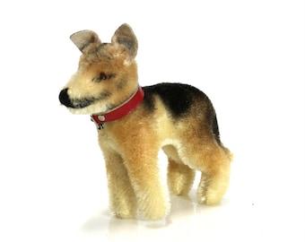 1950s German Shepherd Steiff Dog, Vintage Handmade Mohair All Natural Childrens Stuffed Animal