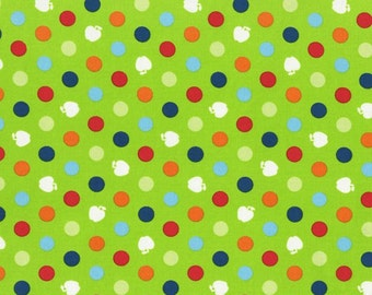 RJR Fabrics Apple Hill Farm 2422 3 Apples and Dots on Green by the yard