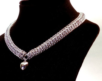 Heart Choker, Dragonback Chainmaille, Heart Charm, Heart Necklace, Dragon Jewelry, Dragon Necklace