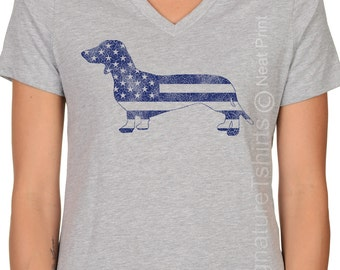 Fourth of July Womens V neck shirt American Flag tee US Flag Independence Day Patriotic graphic USA flag American Dachshund print t shirt