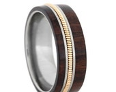 ON SALE Man Wood Wedding Band, Guitar Ring, Titanium Ring Inlaid With A Guitar String And Bolivian Rosewood, Guitar Jewelry