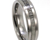 Deer Antler Ring, Titanium Wedding Band With Beveled Edges, Statement Ring or Commitment Ring For Men