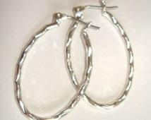 vintage twisted branch oval silver hoops pierced earrings