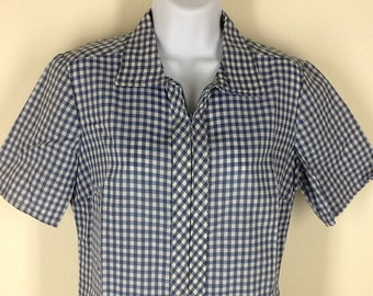 Vintage 60s blue and white gingham check shift dress size 12