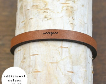 inspire - adjustable leather bracelet  (additional colors available)