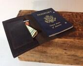 Dark brown soft leather passport cover
