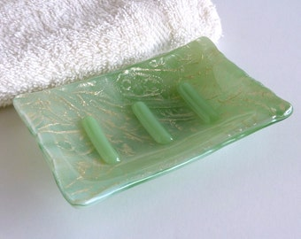 Streaky Green and Silver Fused Glass Soap Dish