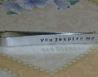 You Inspire Me Mens Teacher Hand Stamped Aluminum Tie Bar Tie Clip - Teacher Tie Bar - Mens Teacher Tie Bar