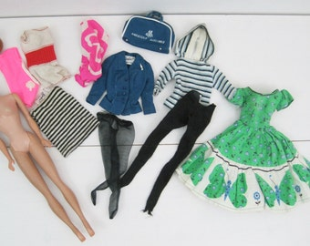 Vintage 50s 60s Barbie Midge Lot of Doll and Clothes American Airlines as is