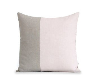 Minimal Linen Pillow Cover in Pale Pink and Natural Linen (18x18) by JillianReneDecor, Modern Home Decor, Two Tone Colorblock Pillow, Blush
