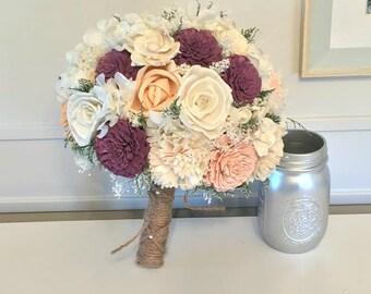Magenta, peach, blush Wedding Bouquet - sola flowers - choose colors - bridal bouquet - Custom - Alternative bouquet - bridesmaids bouquet