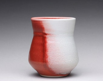 porcelain cup, handmade teacup, pottery tumbler with bright red and clear celadon glazes