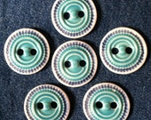 "Handmade Ceramic Button: 1"" Turquoise and Blue on Translucent White Porcelain"