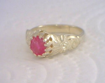 Pink Ruby, No Lead Glass, Flower of Angels Handmade Silver Ladies Ring size 7.25