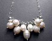 Pearl Cluster Necklace, Freshwater Pearl Necklace, Pearl Necklace, June Birthstone,  Wedding Jewelry