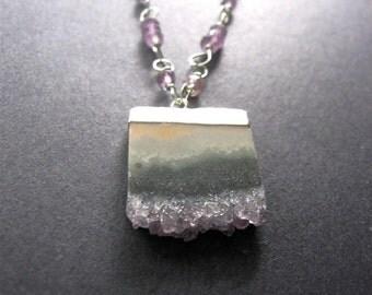 Amethyst  Slice Necklace. Long Amethyst Necklace, Statement Necklace, Boho Necklace, February Birthstone