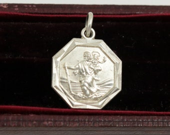 Vintage St Christopher Medal St Christopher Charm Small Pendant Sterling Silver Saint Christopher Necklace Octagon Charm