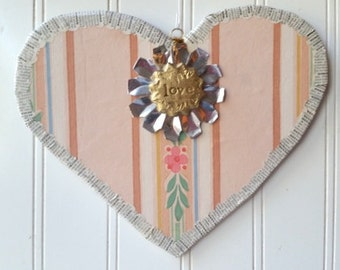Pink Heart love wall hanging ornament upcycled vintage wallpaper French text Valentine Wedding decor