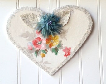 Vintage wallpaper Heart wall hanging ornament floral blue millinery flower vintage French text Farmhouse Cottage Chic decor