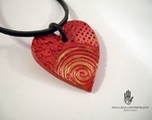Paper Clay Red Heart Pendant