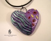 Paper Clay Violet Heart Pendant