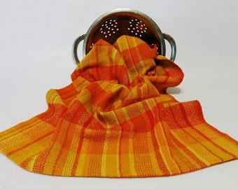 Handwoven Cotton/Linen Towel for Kitchen or Bath - Citrus Towel - Handtowel, Kitchen Towel, Handwoven Towel, Orange Towel (#15-23A-Plaid)